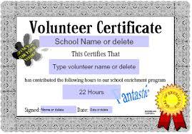 Volunteer Certificate Volunteer Certificate Template Community Service Award Template