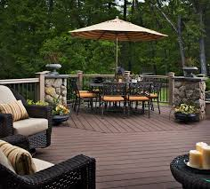 patio deck decorating ideas. Beautiful Simple Deck Decorating Ideas For Backyard With Brown Wooden  Decking Floor Also Stone Pillars And Wicker Chairs Plus Outdoor Dining Sets Patio Deck Decorating Ideas