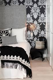 view full size black and white damask wallpaper accent wall framing tall gray