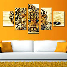 5 picture combination abstract leopards modern home wall