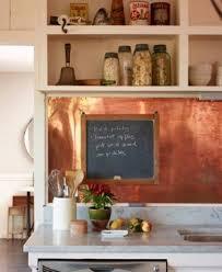 Chalkboard In Kitchen Copper Kitchen Backsplash With Blackboard And Open Shelving