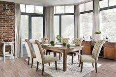 furniture of america cm3324a t 7 pc sania i antique oak finish wood rustic style dining table set with tufted chairs