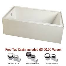 mirabelle mireds6032lwh white edenton 60 x 32 three wall alcove soaking tub with left hand drain faucetdirect com