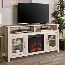 white oak 58 wood highboy fireplace media tv stand console