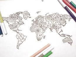 Small Picture world travel map kids adult coloring book page instant