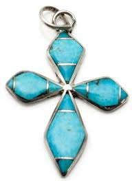 navajo channel inlay cross pendant by kee