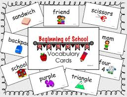 vocab cards with pictures beginning of school vocab cards by karraskids teachers pay teachers