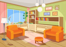 empty living room clipart. vector illustration of a cartoon interior an orange home room, living room with empty clipart