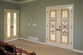 stained glass french doors bedroom