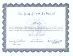 Honorable Mention Certificate Certificate Of Honorable Mention Q Madp From Governors