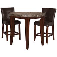 marble dining room furniture. City Lights Round Marble High Dining Table \u0026 2 Upholstered Barstools Room Furniture