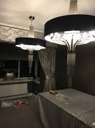 x2 brand new in box chandeliers with black shade8x 40w by libra