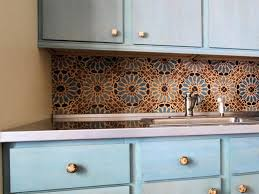 creative kitchen ideas. Creative Kitchen Tile Ideas With Flower Motif Also Single Simple Faucet Plus Blue Color Cabinet Stainless Stell Top