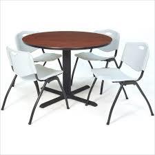 regency regency round lunchroom table and 4 grey m stack