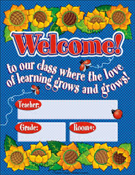 Welcome Chart Images Colored Sunflower Welcome Chart Printable Charts Signs