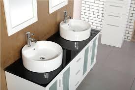 bathroom vessel sink vanity. Double Vessel Sink Vanity Set In White Finish Bathroom