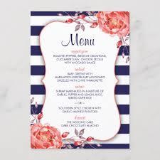 Menu Card Template Navy Blue Striped Coral Wedding Menu Card Template