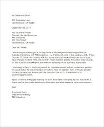 Examples Of Resign Letters 5 Resignation Letter With 30 Day Notice Template Pdf Doc Free
