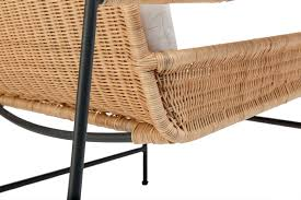 Woven Rattan and Iron Club Chair