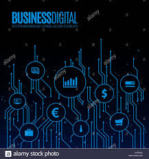 Design For Technology Digital Lines With Bubbles For Business Symbols Technology