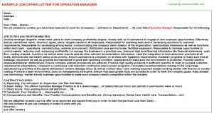 Operation Manager Job Offer Letter | Offer Letters Templates ...