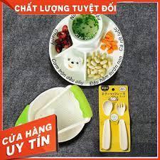 Mẹ Và Bé] Combo Nhật: 1 Bộ bát nghiền thức ăn; 1 Khay ăn 4 ngăn ; 1 Set  thìa dĩa Inomata giảm tiếp 217,500đ