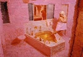 jayne s plush pink bathroom with heart shaped tub