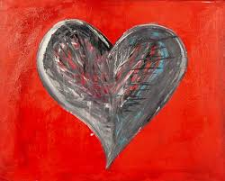 happy valentines day original abstract acrylic wall art painting on canvas red black white blue purple painting by erika rachel