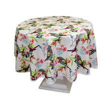 poly cotton tablecloth with birds design round 160cm 63 diameter