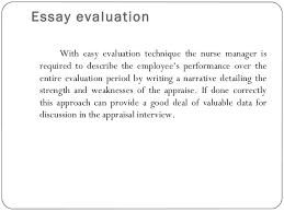 performance appraisal essay evaluation