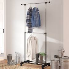Rolling Coat Rack With Shelf Rebrilliant 100100 W Adjustable 100 Tier Rolling Garment Rack 75