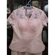 ชุดผ้าไหม ชุดคุณแม่ สีชมพูอ่อน งานปักจากดิโอลสยาม