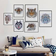 2018 ancient african national totem deer lion animals head art prints poster wall picture canvas painting no frame bedroom home decor from lyq669