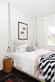 pink white bedroom with black stripes pendant lighting ideas19