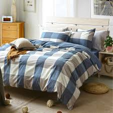 whole fashion plaid washed cotton grey white blue bedding set king queen twin size duvet cover set bed flat sheet pillowcase sheets bedding twin