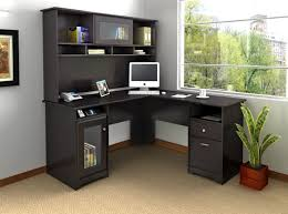 home office desks for two. Inspiring L Shaped Home Office Desks For Proper Corner Furniture : Gorgeous Black Colored Two