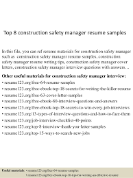 Top 8 construction safety manager resume samples In this file, you can ref  resume materials ...