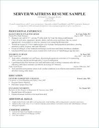 Restaurant Waiter Resumes Waitress Resume Samples Waiter Resume Sample Fresh Restaurant Server
