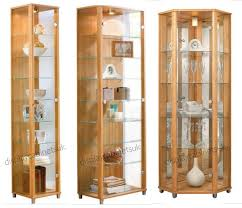 oak glass display cabinets single