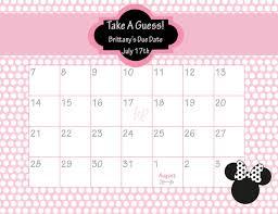 Mouse Calendar Printable Due Date Calendar Minnie Mouse Ba Shower