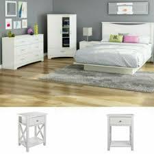White Full Size Bedroom Set 2 Nightstands Modern Design Furniture Platform Bed