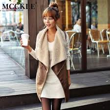 2019 mcckle women faux fur leather vest coat 2018 autumn fashion sleeveless warm jacket female casual long fur leather gilet outwear from piterr