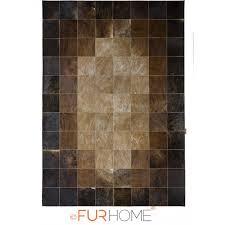 patchwork cowhide rug 20 medium brown dark