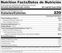 nutrition facts datos de nutricion bilingual label