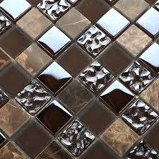 emperador dark mosaic tiles kitchen backsplash natural decorative stained glass