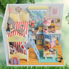 mini doll furniture. Mini Assembling Doll House Realistic 3D DIY Wood Handmade Miniature Dollhouse Furniture Kit For Room Decorations Gift