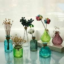 european style mini colorful tabletop glass vase hydroponic container terrarium plant flower pot vase home office wedding decor bamboo vases bathroom vases