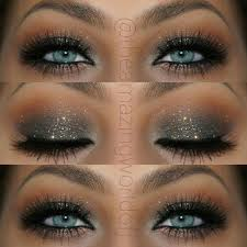 elegant glitter smokey eye makeup that makes her blue eyes pop stunning