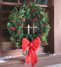 Best Christmas Candle Lights Windows Holiday Window Wreath With Candle Plowhearth