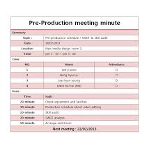 Pre-Production Meeting Minutes | Mirimstudent41